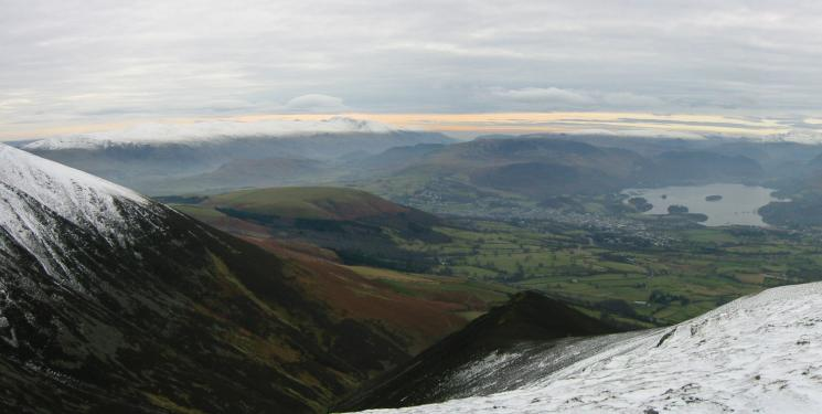 The Helvellyn ridge, Latrigg and Derwent Water from Carl Side