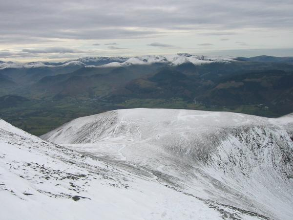 Looking back down on Carl Side from the route up Skiddaw