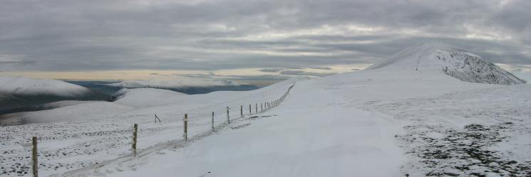 Looking back to Skiddaw on the right. The Helvellyn ridge can be seen centre left over Lonscale Fell