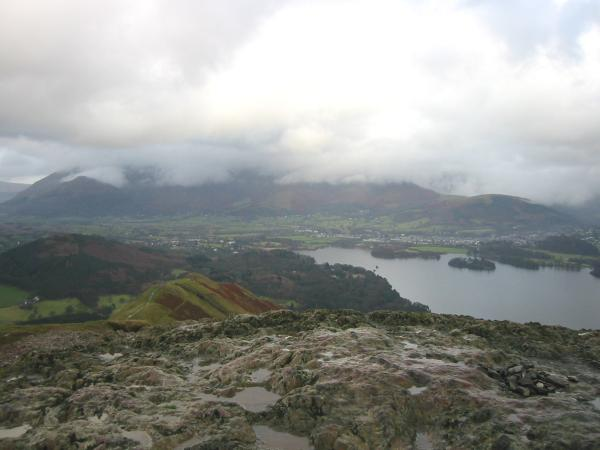 Skiddaw hidden in cloud from Catbells summit