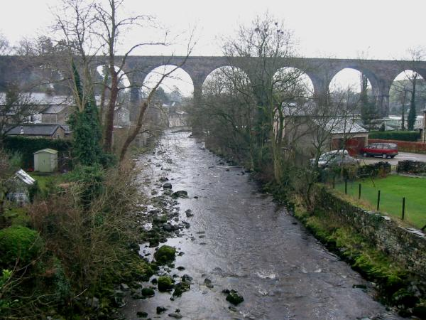 The River Doe, Ingleton. The Rivers Twiss and Doe join to form the Greta under the viaduct