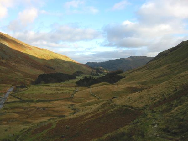 Looking back down Grisedale with Place Fell in the distance