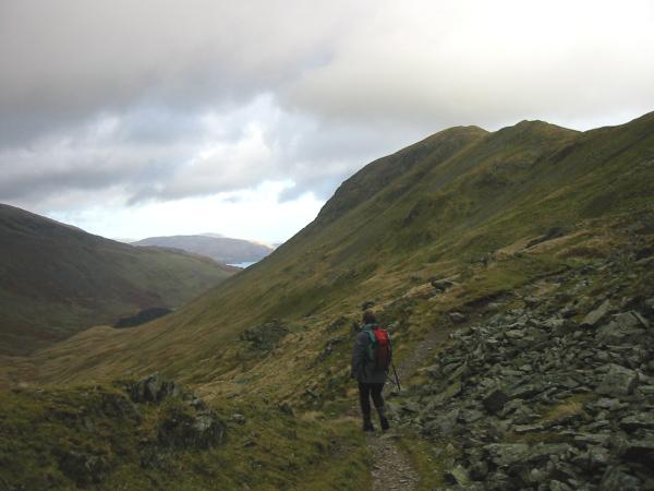The path to Deepdale Hause with Saint Sunday Crag ahead and a glimpse of Ullswater
