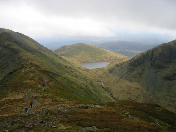 Looking down on Seat Sandal and Grisedale Tarn from the climb up from Deepdale Hause. Cofa Pike can be seen on the far left