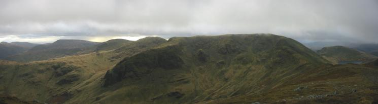 The Ill Bell ridge, Red Screes, Dove Crag, Hart Crag, the mass of Fairfield and Seat Sandal