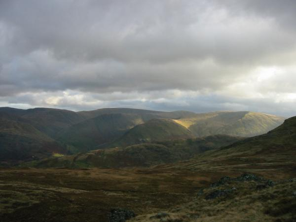 Looking east to the parallel ridges of the High Street fells