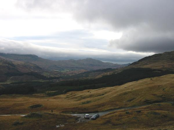 The view south from just above Hard Knott Pass down the Duddon Valley with Caw in the distance