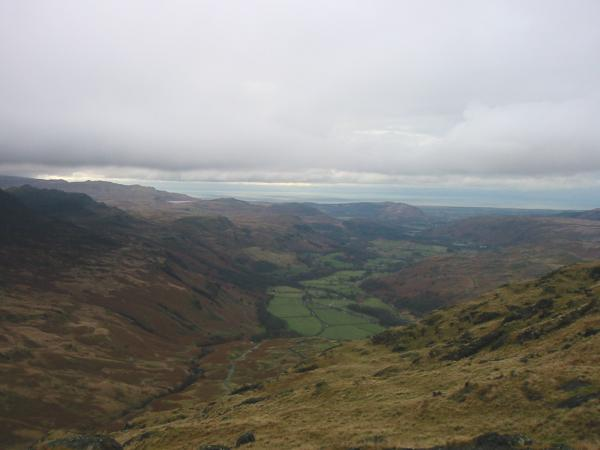 Looking down into Eskdale from Border End