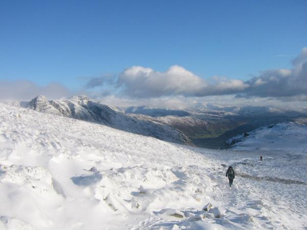On the top section of The Band, heading for Three Tarns