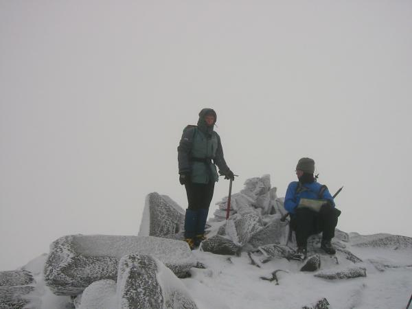 Bowfell summit, in cloud, no views