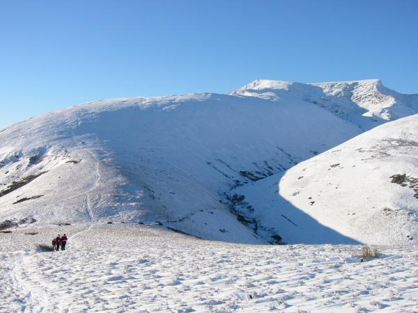 Scales Fell and Blencathra from the path up Souther Fell