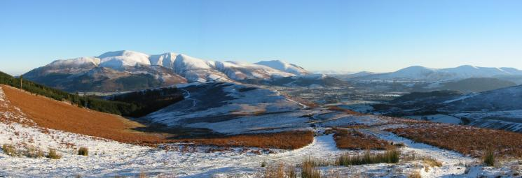 Skiddaw, the Vale of Keswick and the north end of the Helvellyn ridge from Kinn