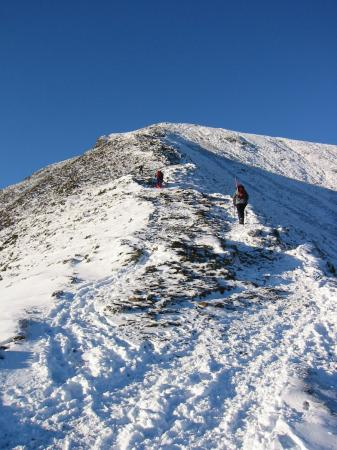 Looking up the top section of the ridge to Grisedale Pike