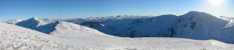 Grisedale Pike, the Helvellyn ridge and the Causey Pike to Eel Crag ridge