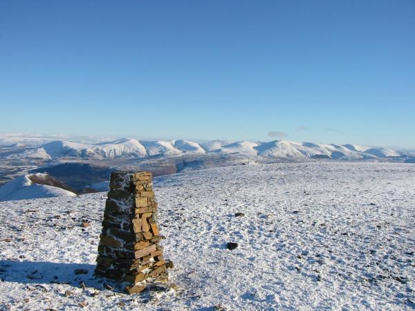 The Helvellyn range from Eel Crag's summit