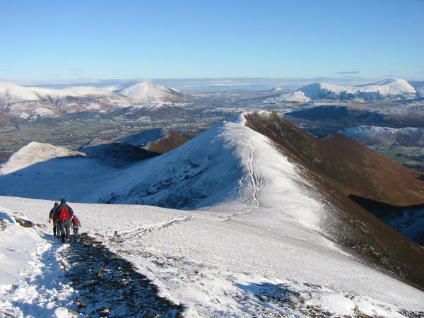 Leaving Sail with Scar Crags and Causey Pike ahead and Outerside far left