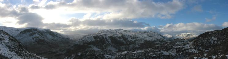 Eagle Crag with the dome of High Raise behind, Rosthwaite Fell, Base Brown and Grey Knotts