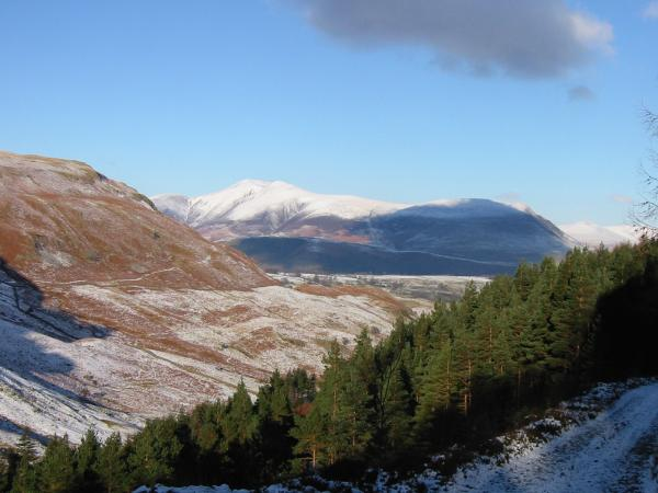 Skiddaw from above Shoulthwaite Gill