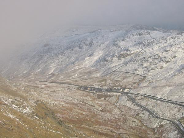 Looking down on Kirkstone Pass Inn