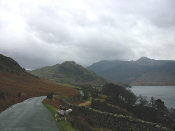 Rannerdale Knotts with Red Pike seen across Crummock Water