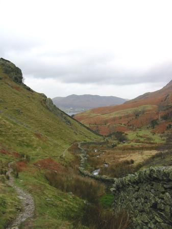 Looking down Rannerdale with Low Fell in the distance