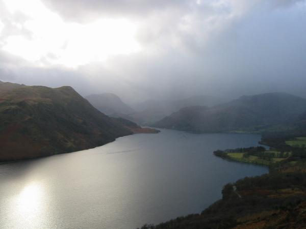 The Head of Ullswater receives a heavy shower of rain