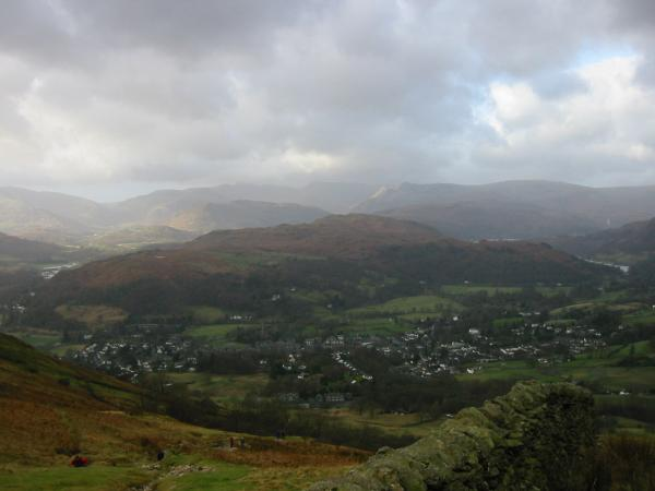 Loughrigg Fell and Ambleside from the climb up Wansfell Pike