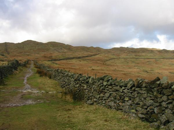 Looking back up Nanny Lane to the Wansfell ridge