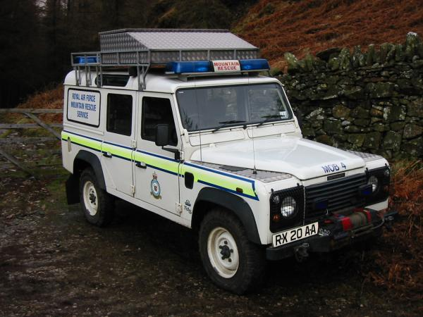 Mountain Rescue Land Rover at the entrance to Iron Keld Plantation