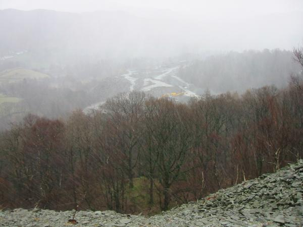 Looking down on the quarries during a downpour