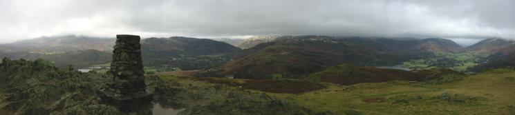 Northwesterly panorama from Loughrigg Fell's summit
