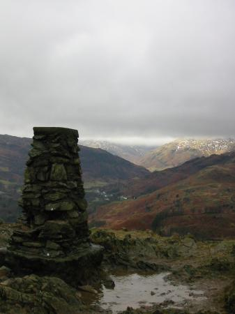 Loughrigg Fell trig point looking towards Langdale