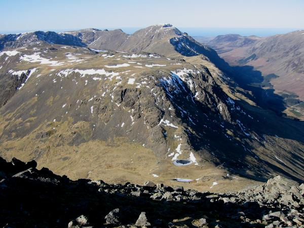 Looking down on Beck Head with Kirk Fell and Pillar beyond