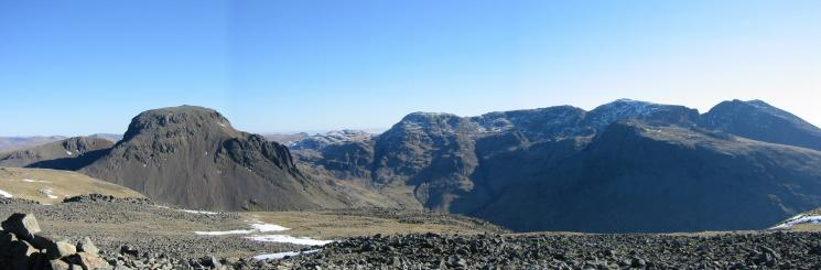 Great Gable and the Scafells from Kirk Fell's summit
