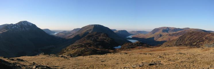 Ennerdale and Buttermere separated by Haystacks and the High Stile ridge from Moses' Trod
