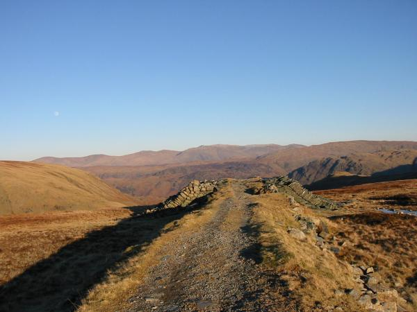 The Helvellyn ridge from the Drum House above Honister Pass