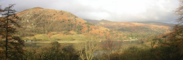 Looking across Rydal Water to Nab Scar and Low Pike