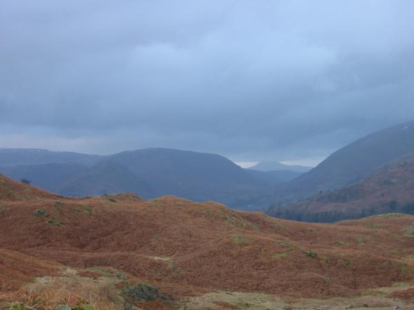 Steel Fell and Skiddaw with its top hidden by cloud above Dunmail Raise