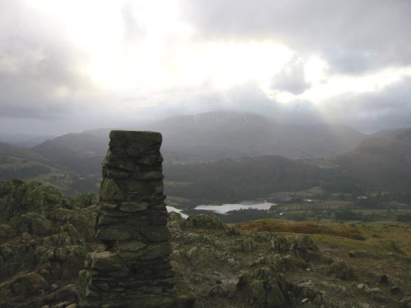 Wetherlam and Elterwater from Loughrigg Fell summit