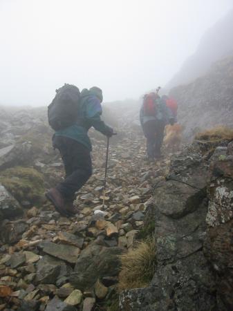 Climbing up to Loft Crag's summit