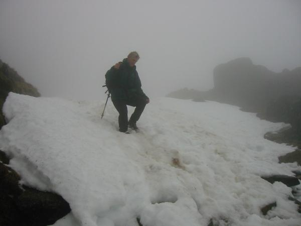 Descending the snow at the top of North Rake