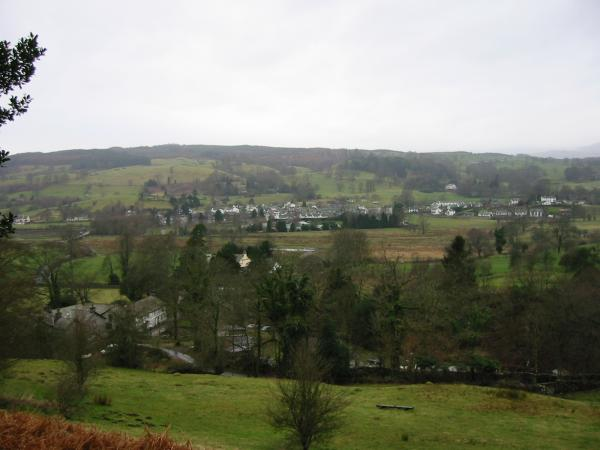 Hawkshead village from above Colthouse