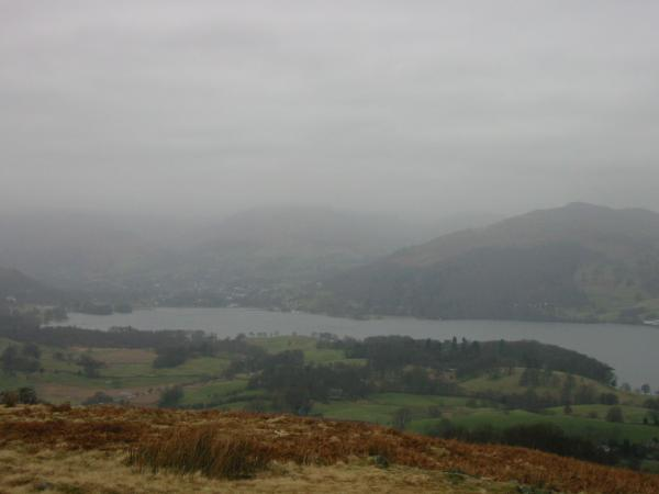 Ambleside at the head of Windermere and Wansfell Pike from Latterbarrow summit