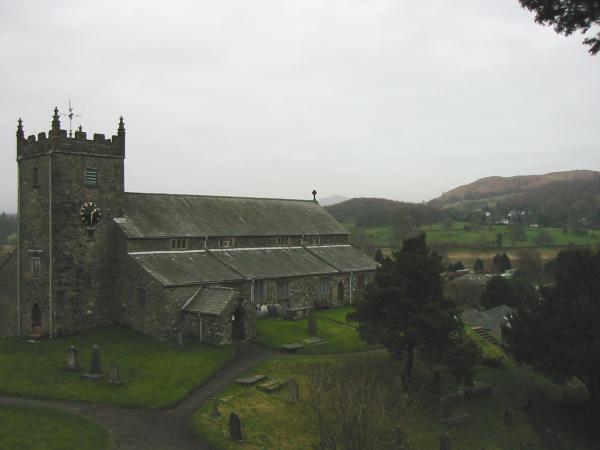 Latterbarrow (far right) from St. Michael and All Angels, Hawkshead's parish church