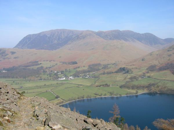 Buttermere village and the Grasmoor fells from the climb up to Bleaberry Tarn