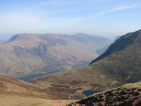 Robinson, Buttermere and Bleaberry Tarn from the climb up Red Pike