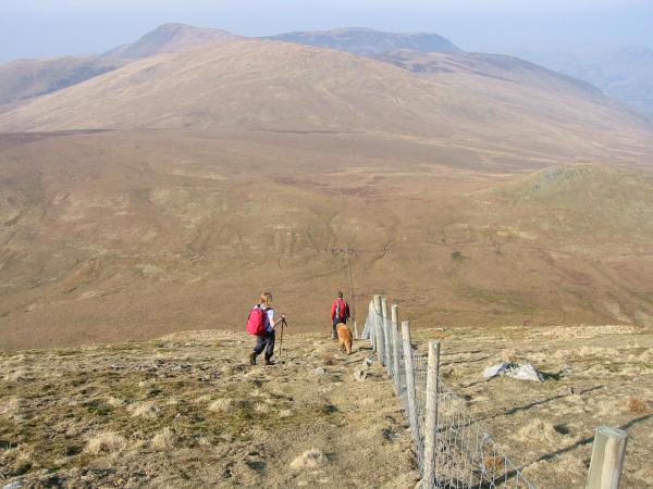 Heading down to Floutern Pass with the Loweswater fells ahead