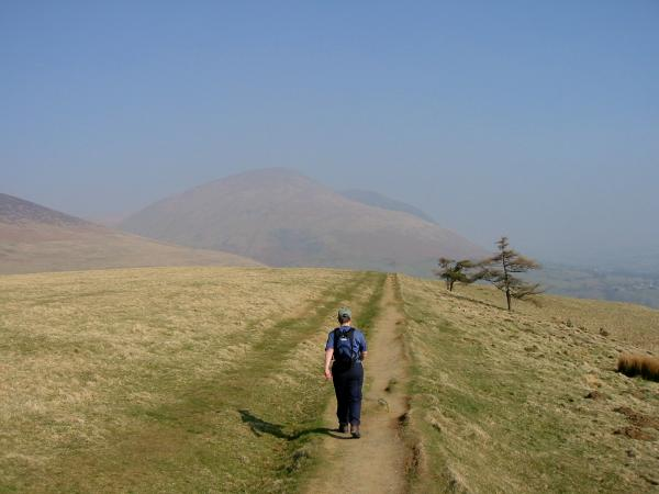 Leaving the summit with Blease Fell (Blencathra) ahead