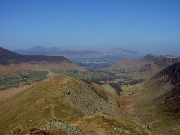 The view north with Skiddaw behind Rowling End, Blencathra and Catbells