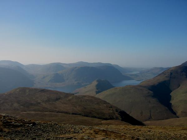 Rannerdale Knotts with Mellbreak behind, Crummock Water and Loweswater in the distance